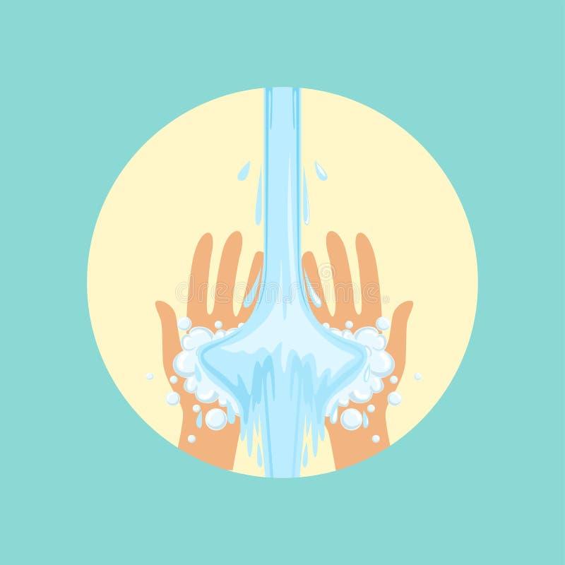 Mains de lavage avec l'illustration ronde de vecteur de l'eau illustration libre de droits