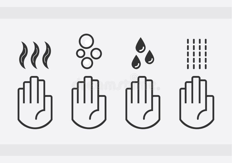 Mains de lavage d'isolement par noir avec les baisses de l'eau, le savon, et les icônes de signe d'air plus sec de coup réglées illustration libre de droits