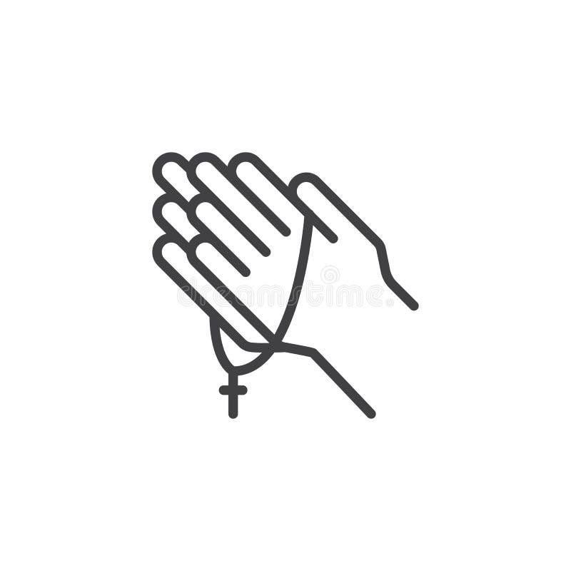 Mains de prière avec l'icône d'ensemble de chapelet illustration de vecteur