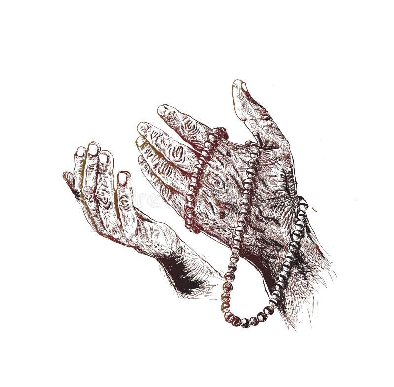 Mains de prière avec le chapelet illustration de vecteur
