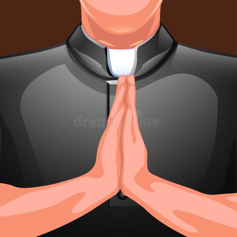 Mains de prière de prêtre illustration libre de droits