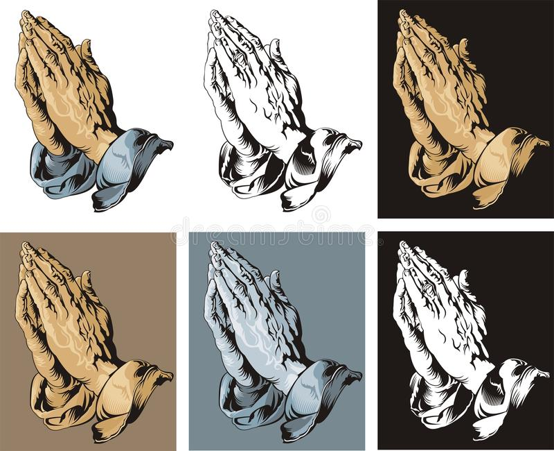 Mains de prière réglées illustration de vecteur