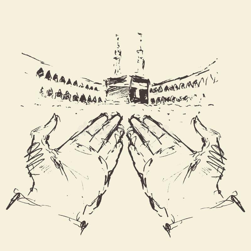 Mains de prière saintes de Kaaba Mecca Saudi Arabia dessinées illustration de vecteur