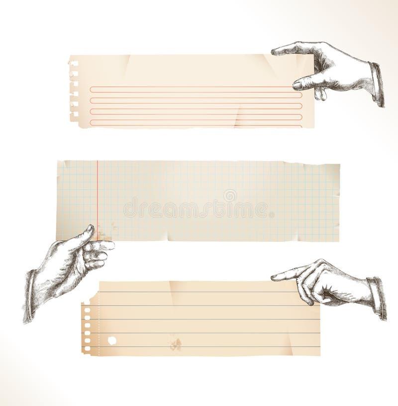 Mains de retrait avec le papier déchiré illustration stock
