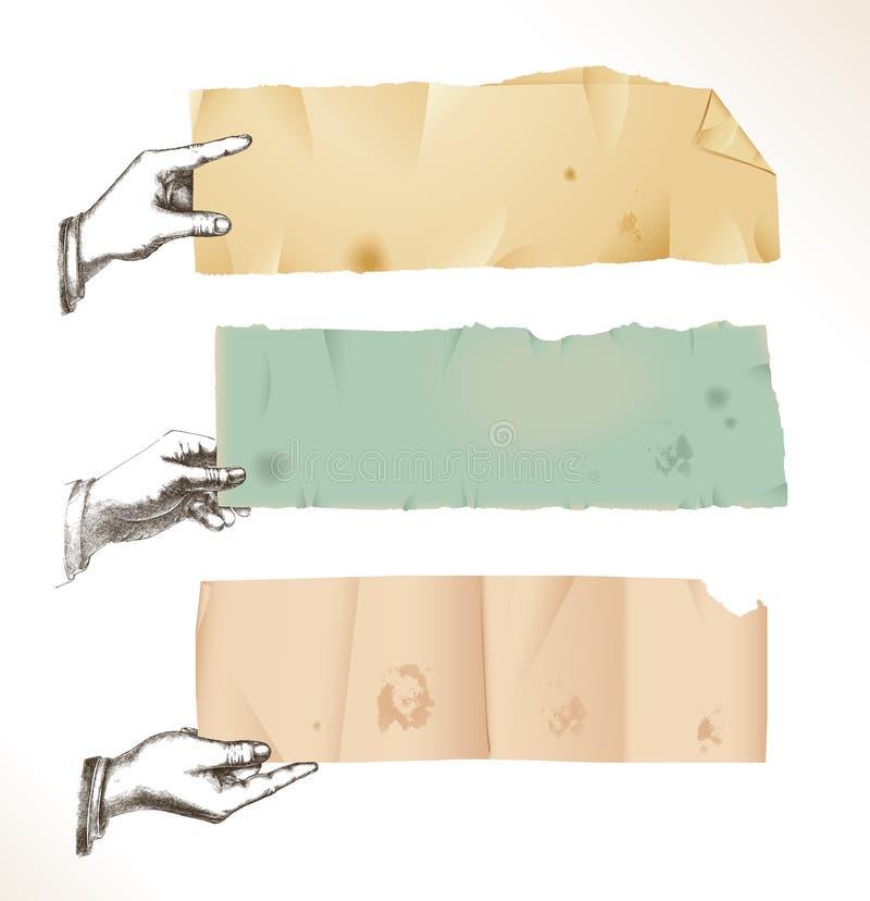 Mains de retrait avec le vieux papier déchiré illustration de vecteur