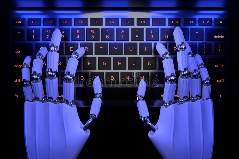 Mains de robot dactylographiant sur le clavier num?rique Main robotique de cyborg utilisant l'ordinateur de clavier 3D rendent l' illustration de vecteur