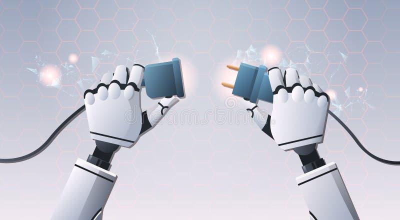 Mains de robot insérant la prise de prise dedans prête à relier futuriste numérique d'intelligence artificielle de vue d'angle su illustration de vecteur