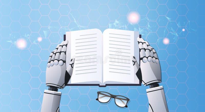 Mains de robot tenant la technologie futuriste numérique d'intelligence artificielle de vue d'angle supérieur des textes de lectu illustration libre de droits