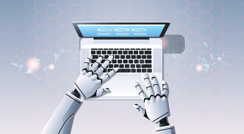 Mains de robot utilisant l'ordinateur portable dactylographiant à vue d'angle supérieur l'intelligence artificielle concept futur illustration stock