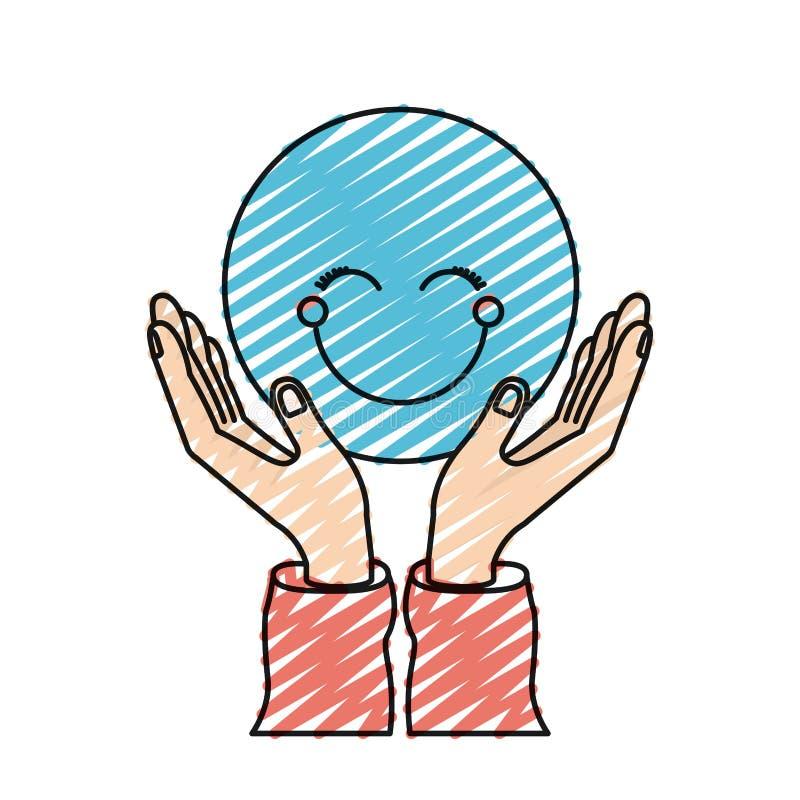 Mains de silhouette de crayon de couleur avec flotter le visage heureux bleu illustration libre de droits