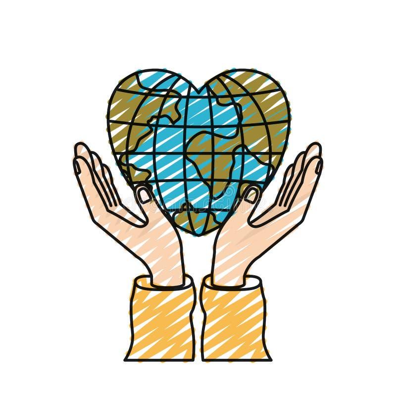 Mains de silhouette de crayon de couleur avec le monde de flottement de globe de la terre dans la forme de coeur illustration libre de droits