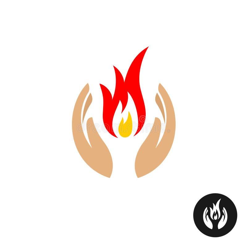 Mains de soin avec le feu à l'intérieur du logo de couleur illustration stock