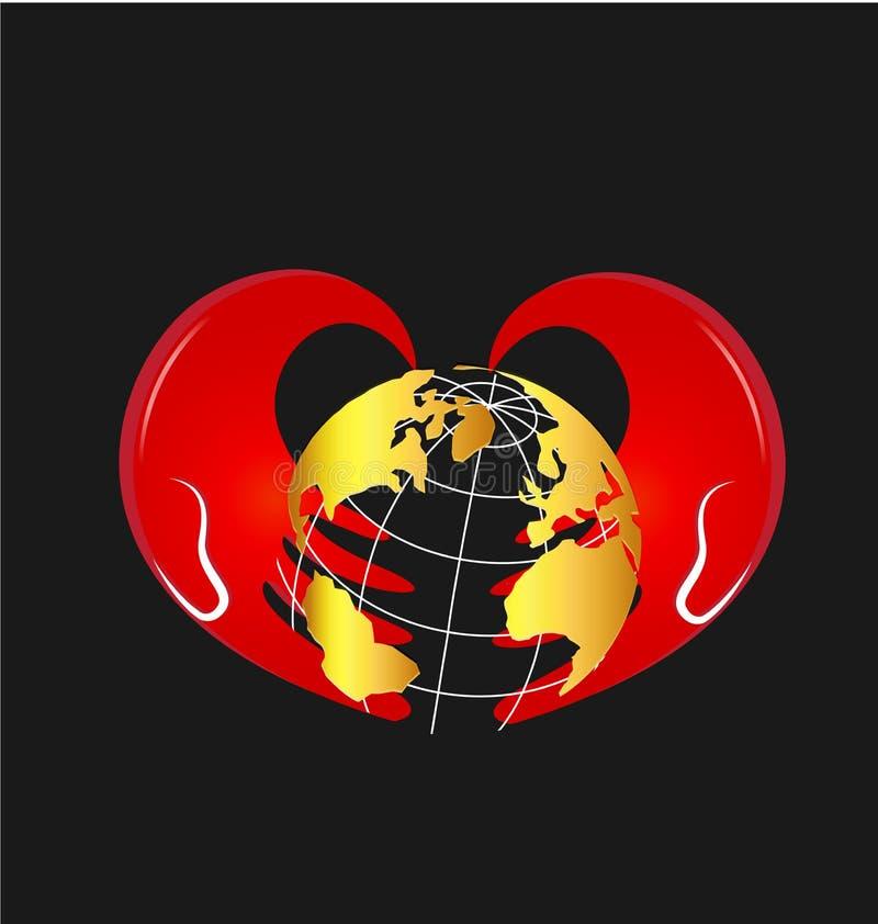 Mains de soin et icône globale de vecteur de la terre illustration libre de droits