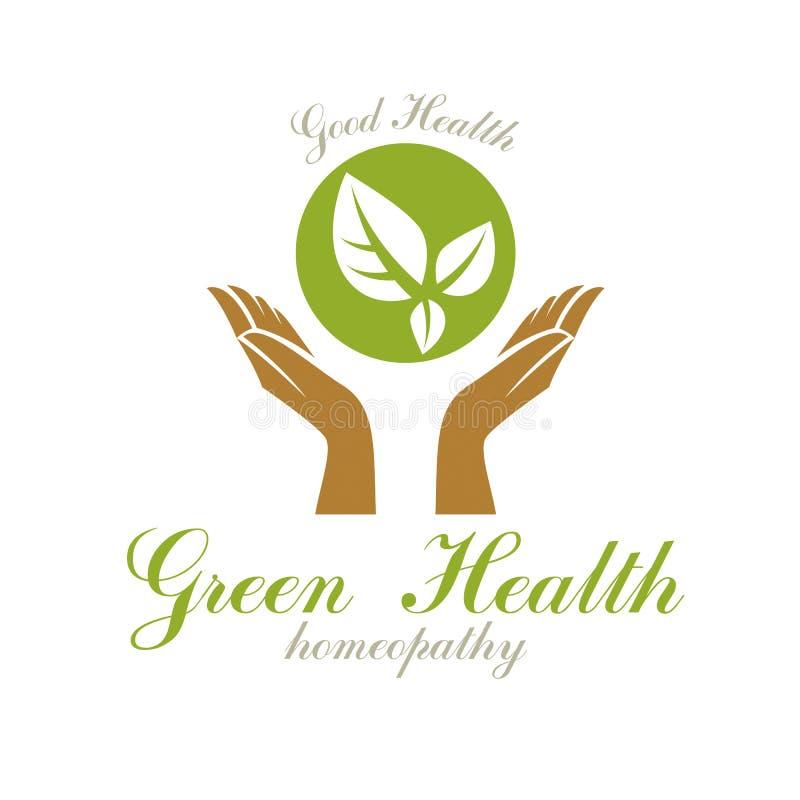 Mains de soin tenant les feuilles vertes de ressort Emblème moderne d'abrégé sur centre de bien-être pour l'usage dans médical illustration stock