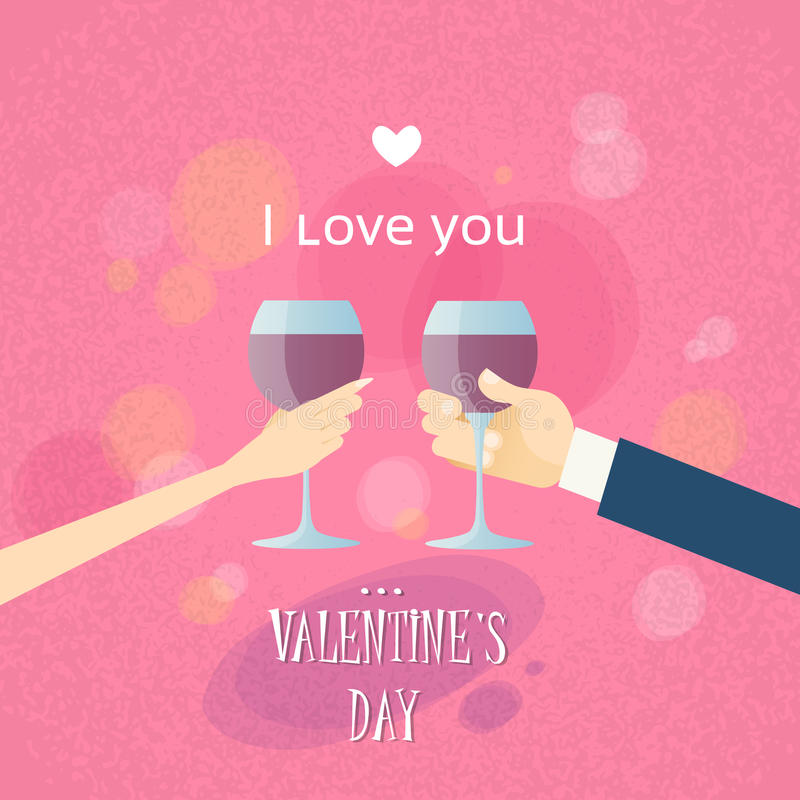 Mains de Valentine Day Greeting Toast Two illustration stock