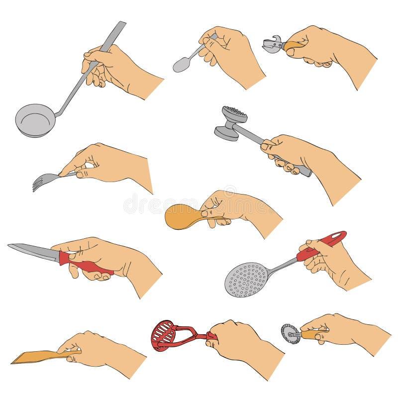 Mains de vecteur avec des ustensiles de cuisine illustration stock
