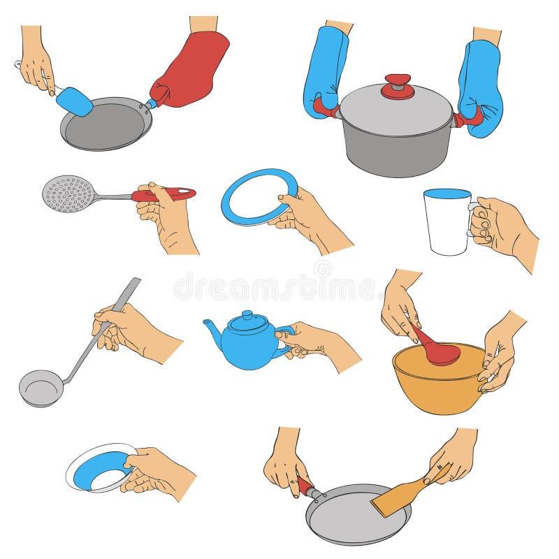 Mains de vecteur avec des ustensiles de cuisine illustration libre de droits