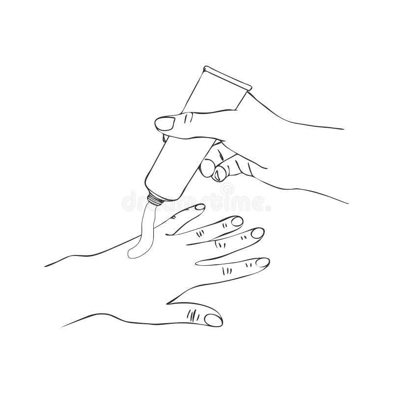 Mains de vecteur avec le tube crème cosmétique illustration de vecteur