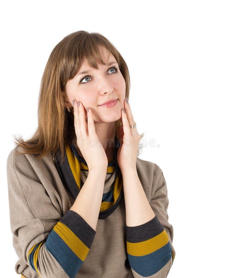 Mains de visage de femme images stock