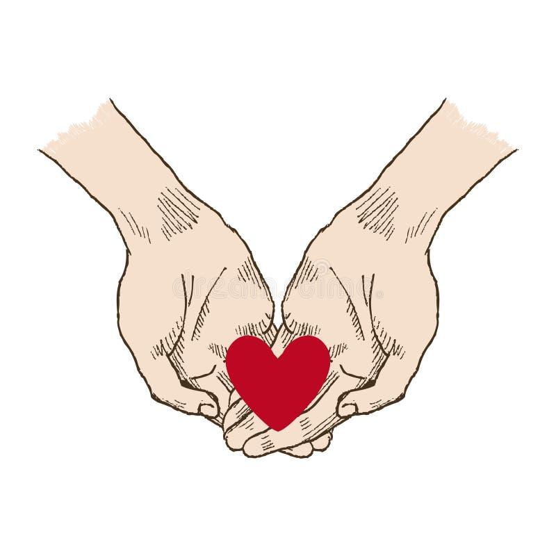 Mains demandant la posture Une main sur autre avec le vecteur rouge de bruit-art de coeur Église, mains, bénédiction, main avec p illustration stock