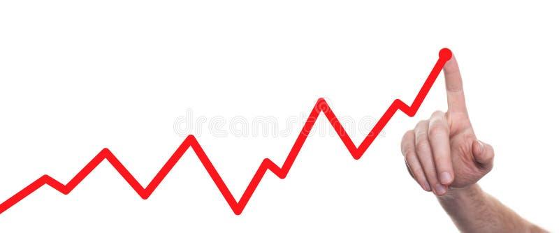 Mains dessinant la ligne diagramme et la strat?gie commerciale Bille 3d diff?rente photographie stock libre de droits