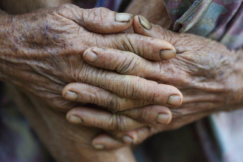 Mains du ` s de dame âgée image stock