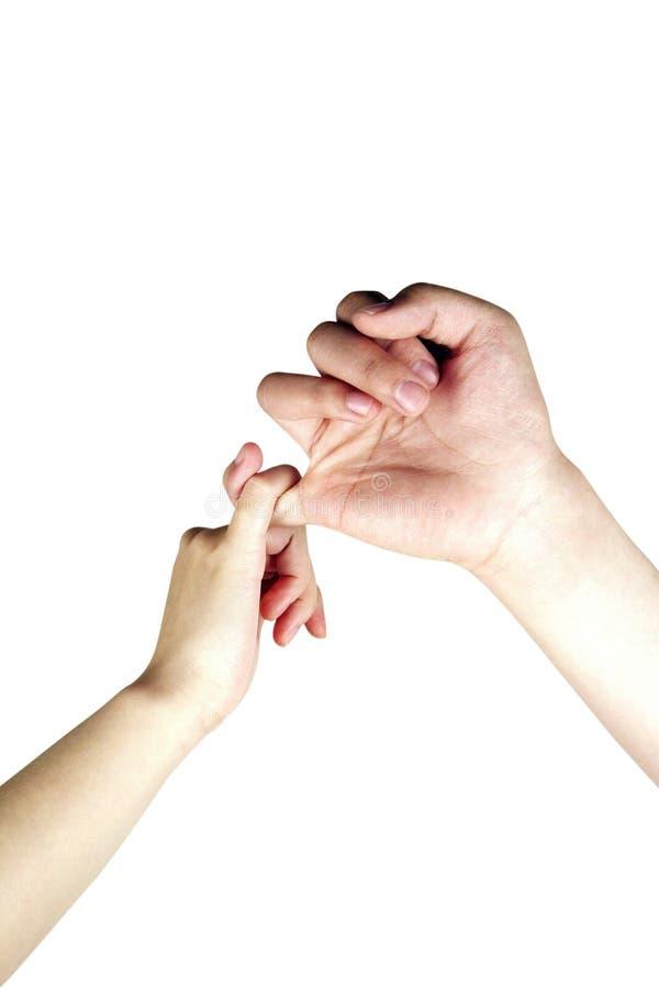 mains effectuant la promesse photo libre de droits