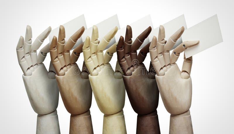 Mains en bois de différentes couleurs tenant des cartes de visite professionnelle de visite image libre de droits