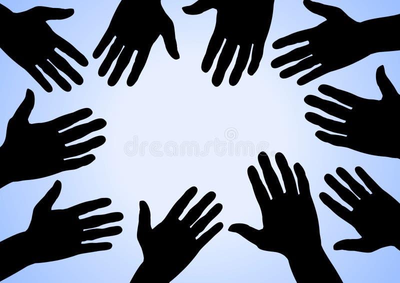 Mains en fonction illustration libre de droits