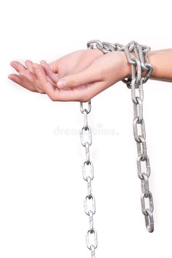 Mains enchaînées images libres de droits