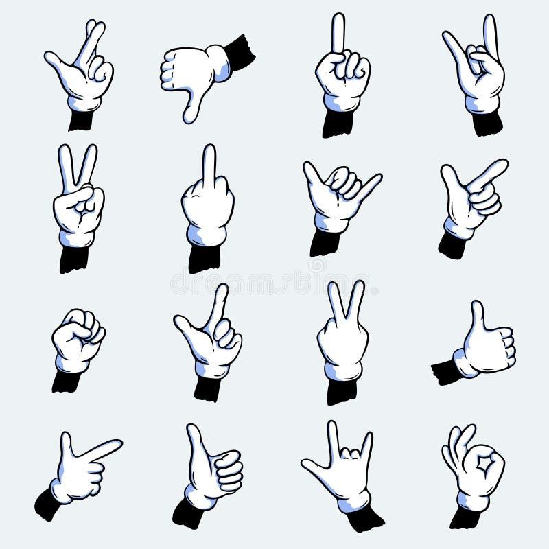 Mains enfilées de gants de bande dessinée réglées illustration libre de droits