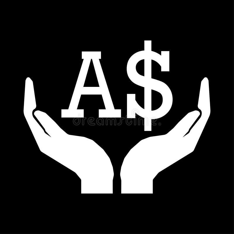 Mains et blanc de signe du DOLLAR de l'AUSTRALIE de devise d'argent sur le fond noir illustration libre de droits