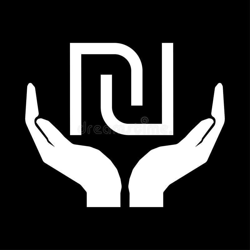 Mains et blanc de signe de l'ISRAËL SHEQEL de devise d'argent NOUVEAU sur le fond noir illustration de vecteur