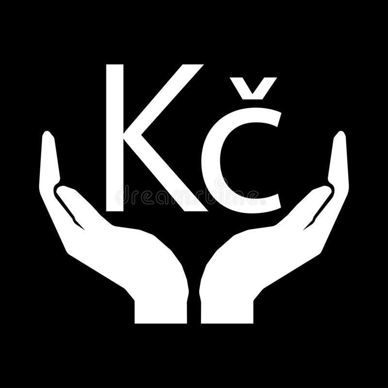 Mains et blanc TCHÈQUE de signe de COURONNE de devise d'argent sur le fond noir illustration libre de droits