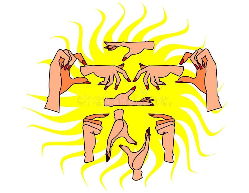 Mains et clous image stock