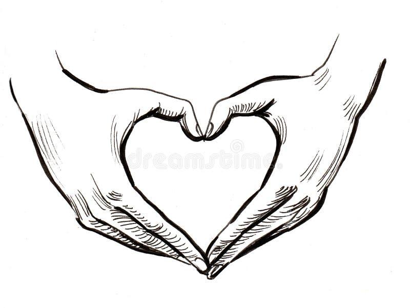 Mains et coeur illustration de vecteur