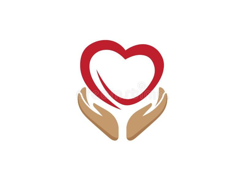Mains et coeur s'inquiétant la santé des personnes pour le vecteur d'illustration de conception de logo illustration stock