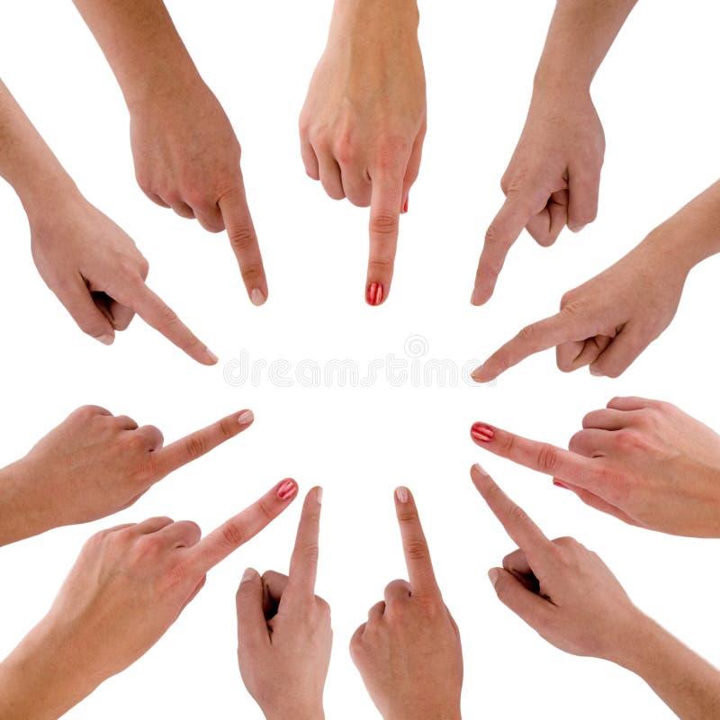 Mains et doigts - le cercle photographie stock