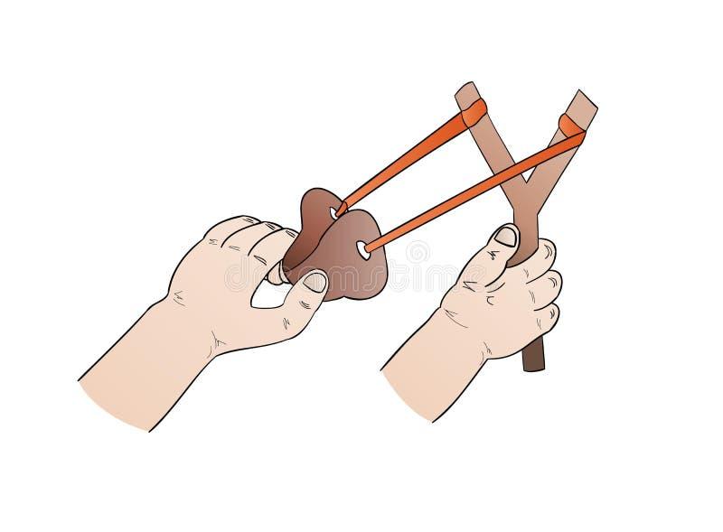 Mains et fronde illustration stock
