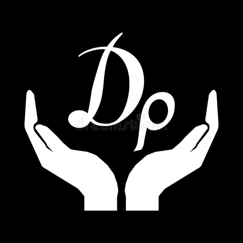 Mains et signe de DRACHME de GREC de devise d'argent Salut le blanc de signe d'argent sur le fond noir illustration stock