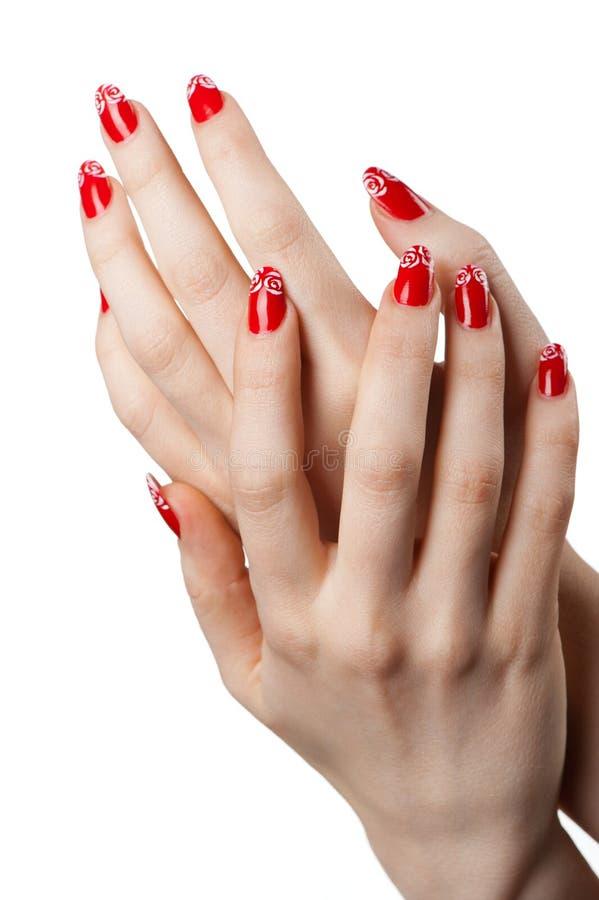 Mains femelles avec la manucure française images stock