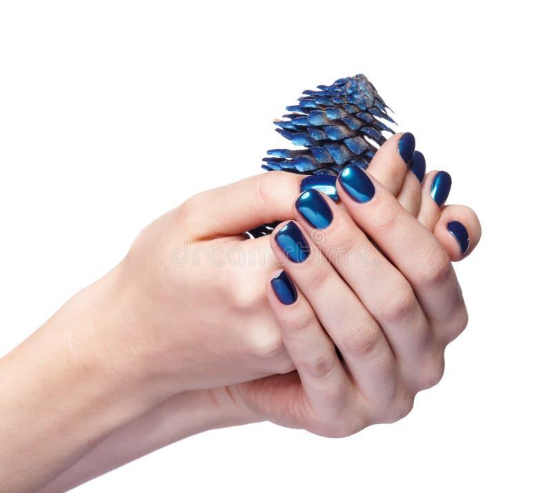Mains femelles avec le sapin-cône bleu de Noël et le manicu brillant de clous photo libre de droits