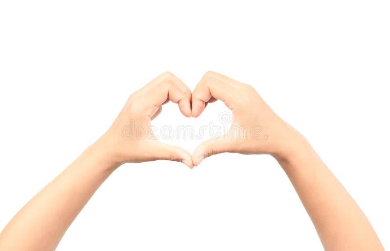 Mains femelles faisant une forme de coeur d'isolement sur le fond blanc image stock