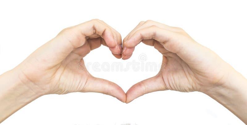 Mains femelles sous forme de coeur d'isolement image libre de droits