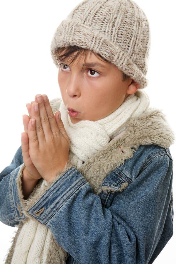 Mains froides d'enfant ensemble photos libres de droits