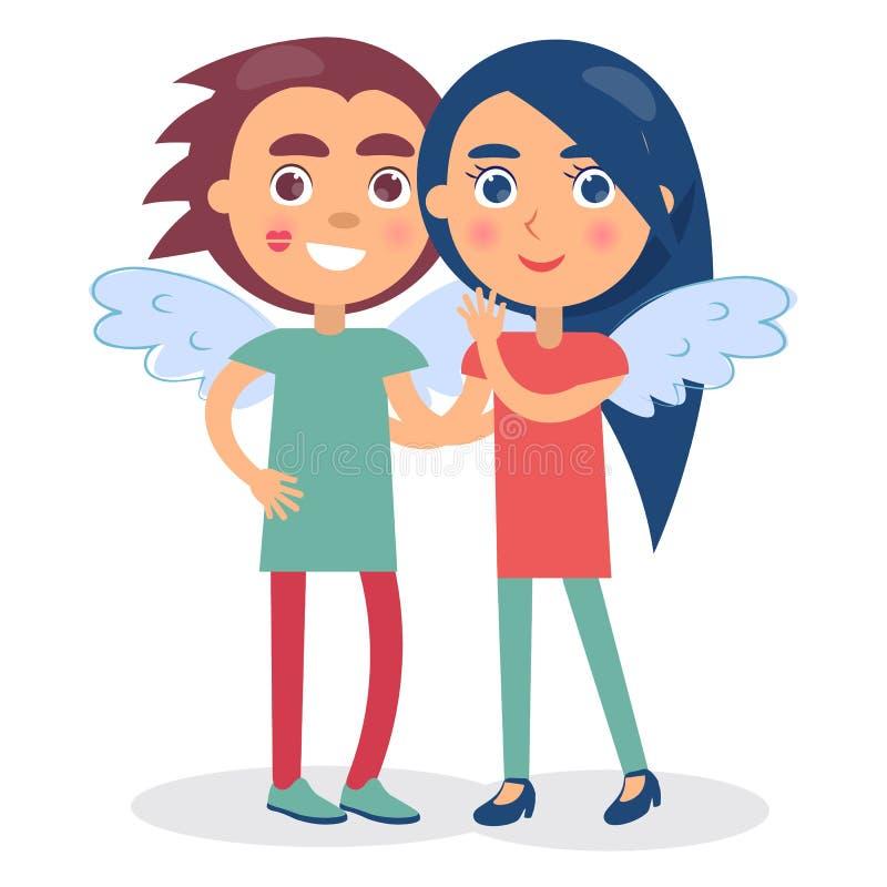 Mains, garçon et fille de sourire de flirt de prise de couples illustration stock