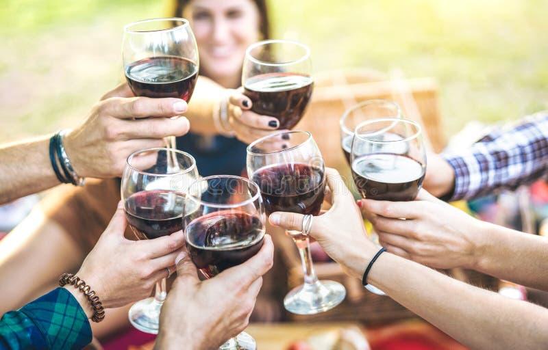 Mains grillant le vin rouge et les amis ayant l'amusement encourageant à une expérience winetasting - les jeunes appréciant le te images stock