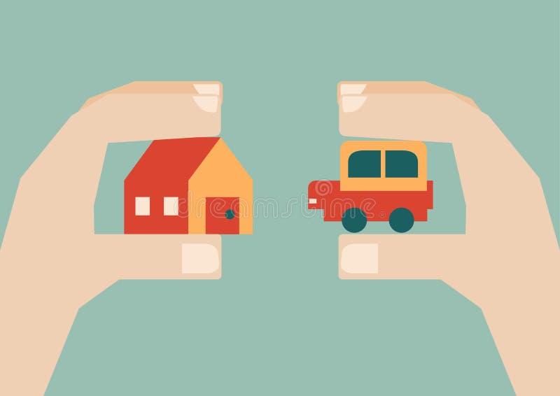 Mains humaines échangeant la maison et la voiture, vecteur illustration libre de droits