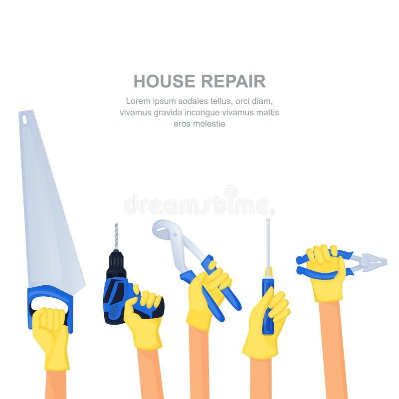Mains humaines avec les outils et l'équipement à la maison de réparation Bannière de construction de logements ou calibre de conc illustration libre de droits