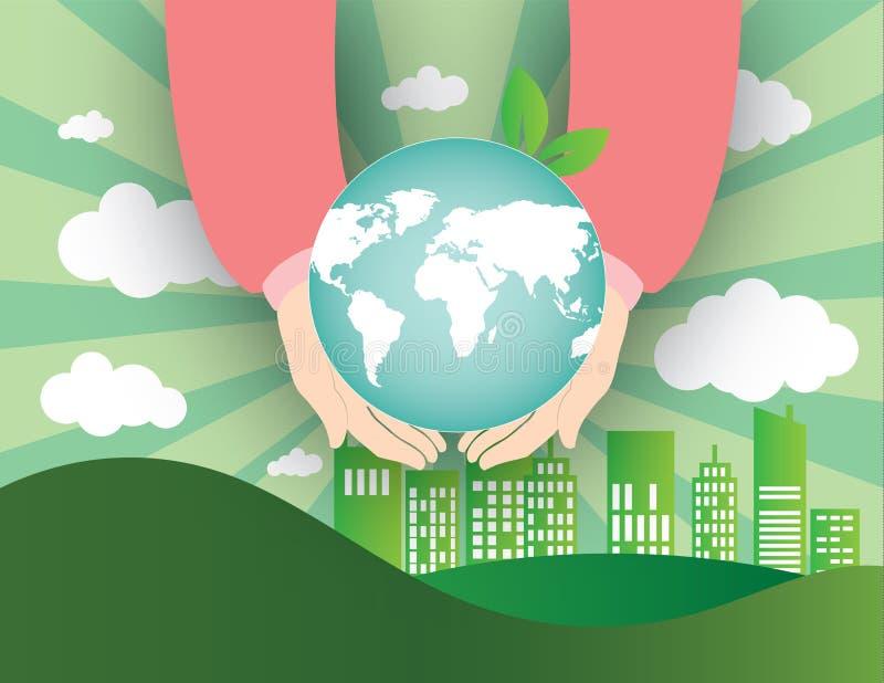 Mains humaines tenant le globe sur la carte de ville et du monde du fond de nuages illustration libre de droits